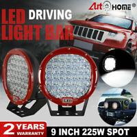 Pair 9inch 225W Spot LED Driving Light Offroad 4WD UTE Bull Bar Bumper Work Lamp