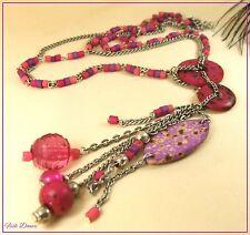 BEL Stile Etnico Tribale Rosa E Argento Anticato Chunky Dichiarazione collana.