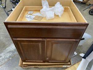Hampton Cognac Raised Panel Stock Assembled Base Kitchen Cabinet with Drawer