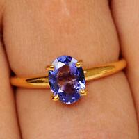 1,20Ct 585er Gelbgold 100% natürliche blaue Tansanit Ovale Form Verlobungsring