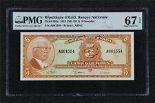 1919 Republique d Haiti Banque Nationale Pick#202a 5 Gourdes PMG 67 EPQ UNC