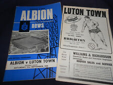 2 x LUTON TOWN F.C. v BRIGHTON (INCLUDES LEAGUE REVIEW MAG) PROGRAMMES 1968-69
