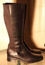"Andrew Geller ""Voyage"" Black Leather Stretch microfiber riding boots 8.5M"