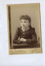 CABINET CARD,Vintage Photo, Little Girl w/Locket, Albany, Oregon