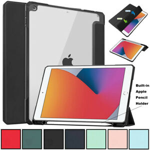 "Smart Hard Clear Back Case Flip Cover For iPad 8th 7th Gen 10.2"" Air 10.9"" 2020"