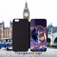 Dream Catcher Arctic Wolf Leather Flip Wallet Phone Case Cover