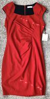 NWT CALVIN KLEIN WOMAN RED SHEATH DRESS $134 Size: 10