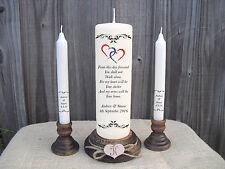 Personalised Wedding Unity Candle Set Gift Keepsake Hearts Gay Lesbian Samesex
