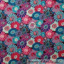 BonEful Fabric FQ Cotton Quilt Rainbow Pink Purple White Blue Flower Calico Girl