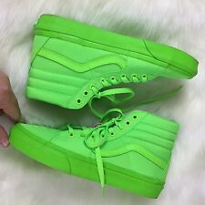 NEW! VANS High Tops Women Mens Lace Up Kicks Athletic Sneakers NEON GREEN Size 8