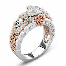 Gothic Retro Skull Rings Women Men Crystal Heart Wedding Punk Jewelry Xmas Gift