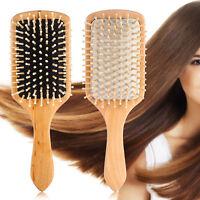 Hair Brush Paddle Detangling Bamboo Massage Straightening Wood Hairs Brush Comb&