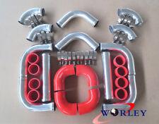 "3"" INCH 76mm Aluminum Universal Intercooler Turbo Piping pipe Kit +red hose kits"