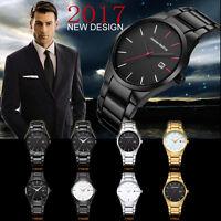 Herren Armbanduhren Edelstahl Quarz Sportuhr Luxus Datum Militär Armband Uhr