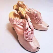 1940s Daniel Green Pink Satin Ruffles Peep Toe Kitten Pumps Heels 7.5 Vintage