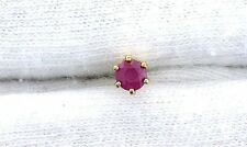 14KT REAL Yellow Gold 3.5mm Round Natural Ruby Gemstone SINGLE ONE Stud Earring