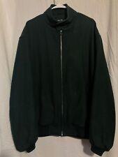 Melton Bomber Evergreen Green Wool Blend Bomber Jacket Zipper Coat Large Tall L