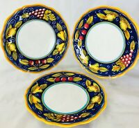 """Set of 3 Deruta Italy Hand Painted Dinner Plates with Fruit Design 11.25"""""""