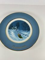 """1976 Avon Christmas Plate """"Bringing Home the Tree """" by Enoch Wedgwood, England"""