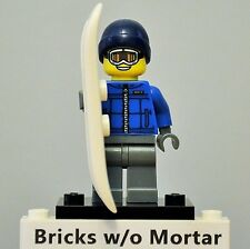 New Genuine LEGO Snowboarder Guy Minifig with Snowboard Series 5 8805