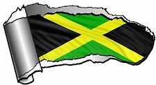 Ripped Open GASH Rip Torn Metal & Jamaica Jamaican Country Flag Car Sticker