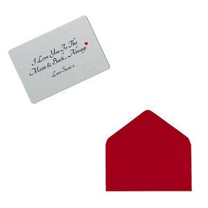 Personalised I Love You To Moon Back Keepsake Metal Wallet Card Valentines Gift