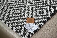 MODELLO A ROMBO Tappeto Cotone Rag Nero Bianco Fatto a Mano in Tessuto Geometrico 90x150cm 3x5