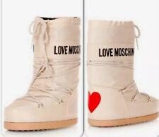 Love Moschino Snow Winter Ski Boots Off White Cream Red UK 4 5 5.5 Eu 35 37 US 7