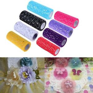 Wedding Glitter Sequin Tulle Roll 25 Yards 15cm Spool Tutu DIY Craft Party Decor