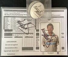 Liam Dawson Signed Cricket Ball Scorecard & Picture
