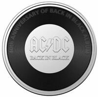 2020 AC/DC BACK IN BLACK 20c Coloured Coin in Card