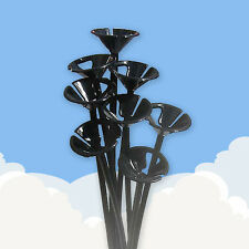 30 Black Colour Balloon sticks . . .  plastic holder party long tall 1 piece set