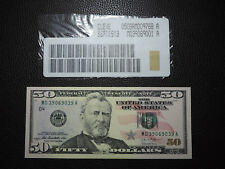 2013 $50 US Dollar Bank Note MD 39069039 A Fancy Repeater Note USD CU D4