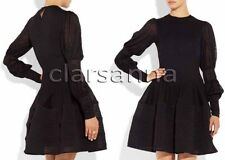 Alexander Mcqueen Double Puff Sleeves Plisse Bands Full Circle Gauzy Knit Dress