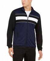 Ideology Mens Jacket Blue Size Medium M Colorblock Stripe Zip Track $50 #262