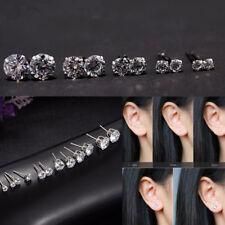 Silver CZ Crystal Women 6 Pair Fashion Jewelry Rhinestone Ear Stud Earrings U
