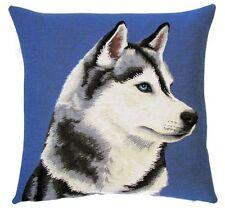 "18"" Husky (Right) Blue Woven Belgian Tapestry Cushion 45cm Belgium Dog"