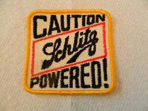 Caution Schlitz Powered Beer Patch BLACK Vintage Never Applied