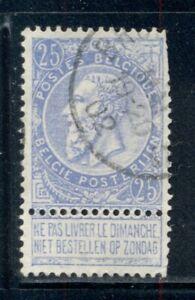 "BELGIUM 68a Used 1893-1900 25c blue KLII No ball in ""5"" at upper left Cat$13"
