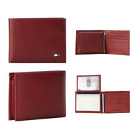 Tommy Hilfiger Men's 31TL22X046 Genuine Leather Credit Card Passecase Wallet Red