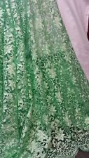 1MTR MINTY GREEN SCALLOPED EGDES  EMBROIDERED TULLE NET FABRIC 52IN WIDE
