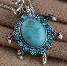 Tibet silver lucky turtle necklace natural oval turquoise necklace  good gift