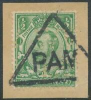 """GB """"PAM"""" (NOT KNOWN) superb triangle postmark on GV 1/2d green PERFIN, R!"""