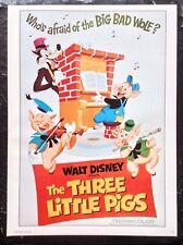 Walt Disney PRINT Rare Vintage 1977 Three Little Pigs Cartoon Art Classic Cinema