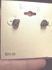 sparkly black Marcasite twisted rope knot Celtic design silver stud earrings