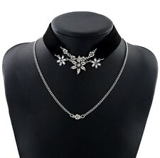Crystal Flower Double Layer Choker Chain Necklace Statement Party