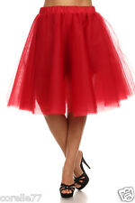PLUS SIZE Sexy TuTu Tulle A-Line Pleated Long Tea Skirt RED sz 1X
