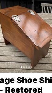 Shoe shine box vintage era around 60s