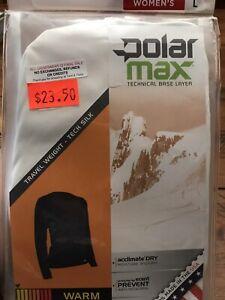 $24 NEW Womens Polarmax Base Layer Ivory white tech silk top shirt S M L  USA