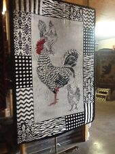 New Kitchen decor Rooster Black White Kitchen rug for the home 5x8 in size SALE!